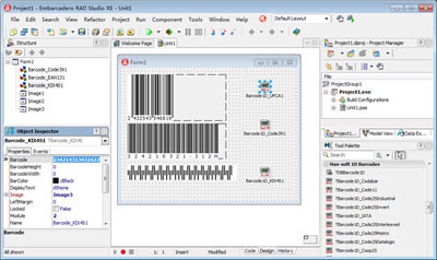 Include Barcode ,DBBarcode, QRBarcode and QRDBarcode, Create, view and print barcodes for your applications as easy as typing the code. Simply enter the desired characters and select the type. The barcode will be created!