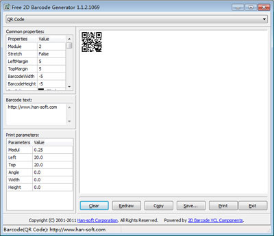 Generate, and print 2D barcode symbologies.
