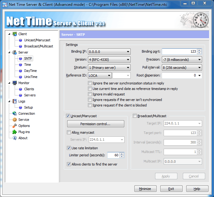 Net Time Server & Client Screen shot